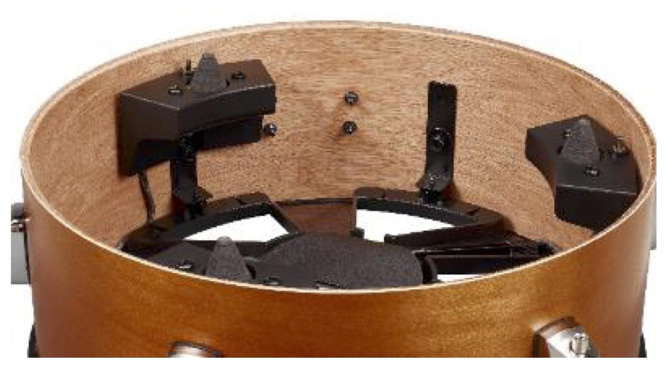 Closeup of interior of drum with sensor.