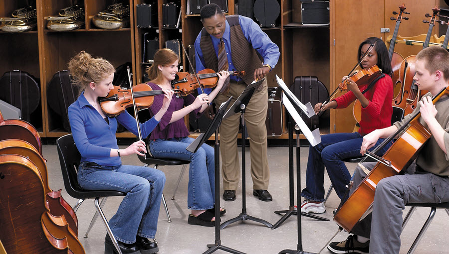 Teacher instructing group of children in how to play strings.