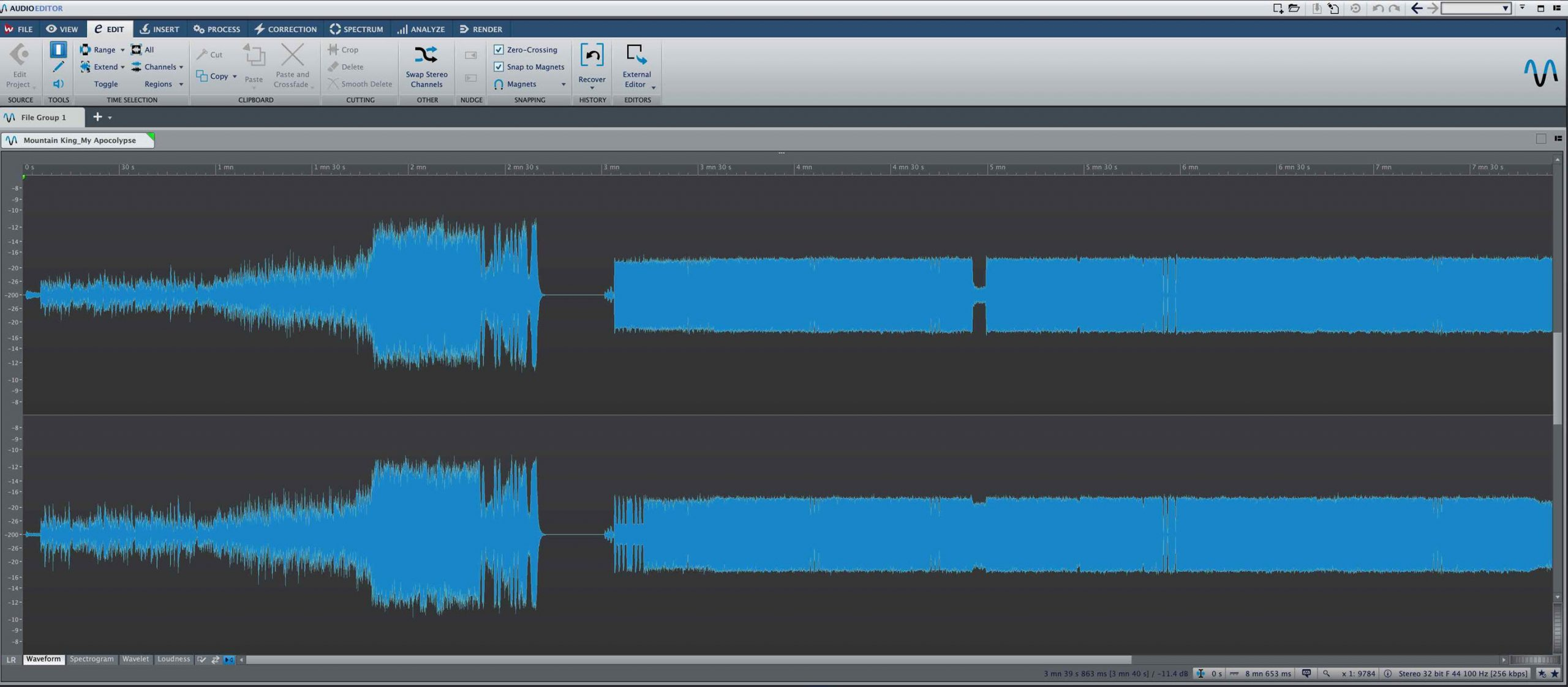 Screenshot of two soundwaves on screen.