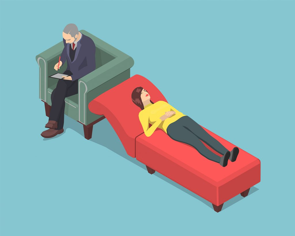 Graphic of woman laying on a therapist's couch while he sits in a chair behind her head taking notes.